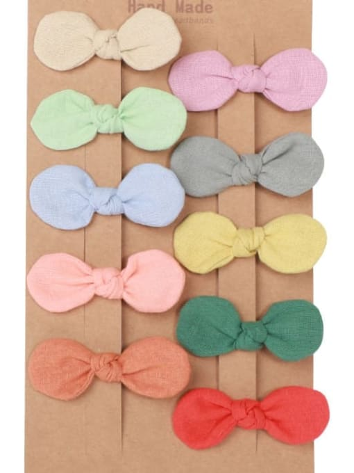 1#10 small hairpin clips Alloy Fabric Minimalist Bowknot  Multi Color Hair Barrette