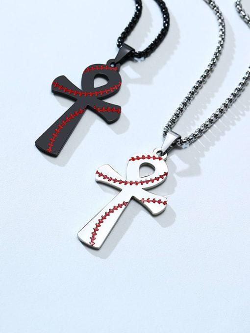CONG Titanium Steel Rhinestone Geometric Vintage Necklace
