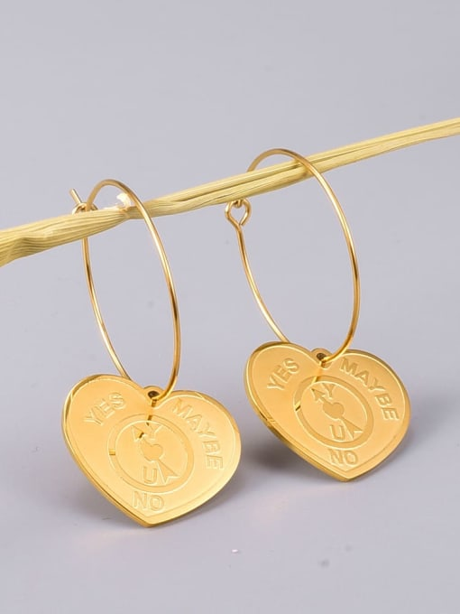 A TEEM Titanium Steel Heart Vintage Huggie Earring 2