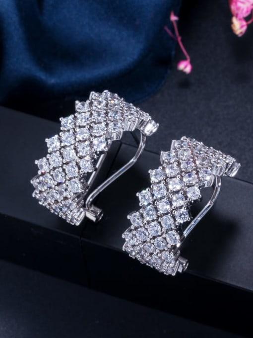 platinum Brass Cubic Zirconia Geometric Statement Stud Earring