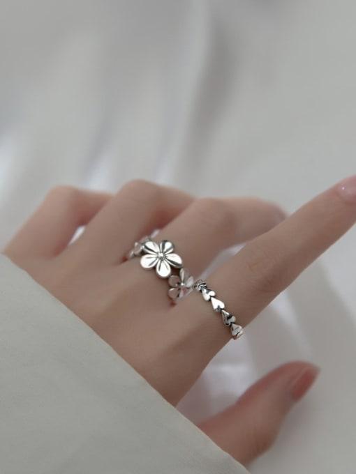 Rosh 925 Sterling Silver Flower Vintage Band Ring 1