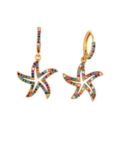 Big starfish Brass Cubic Zirconia Star Vintage Huggie Earring