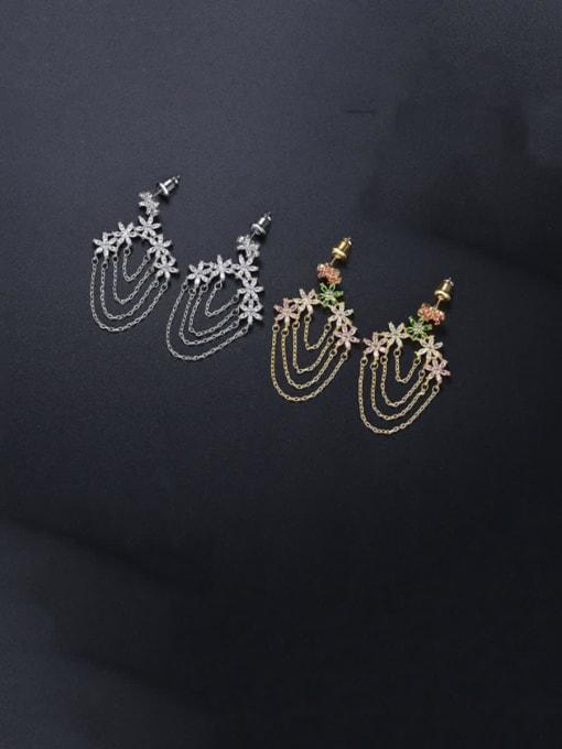 BLING SU Brass Cubic Zirconia Tassel Luxury Earring 2