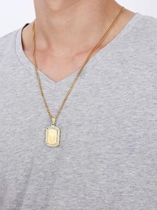 CONG Titanium Steel Rhinestone Geometric Minimalist Necklace 1