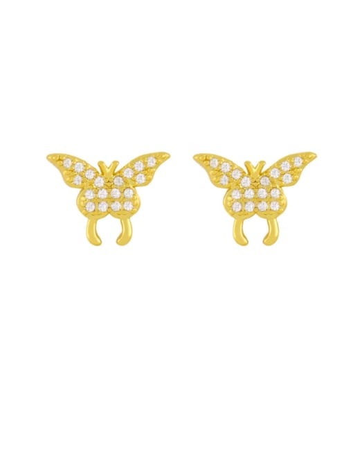 CC Brass Cubic Zirconia Smiley Vintage Stud Earring 3