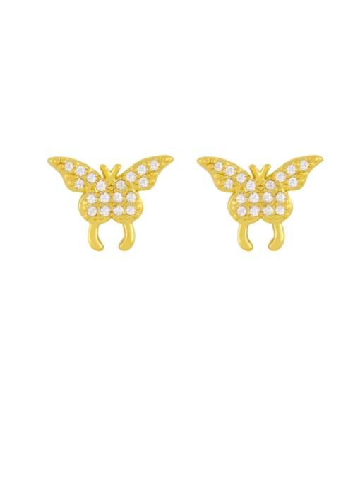 butterfly Brass Cubic Zirconia Smiley Vintage Stud Earring