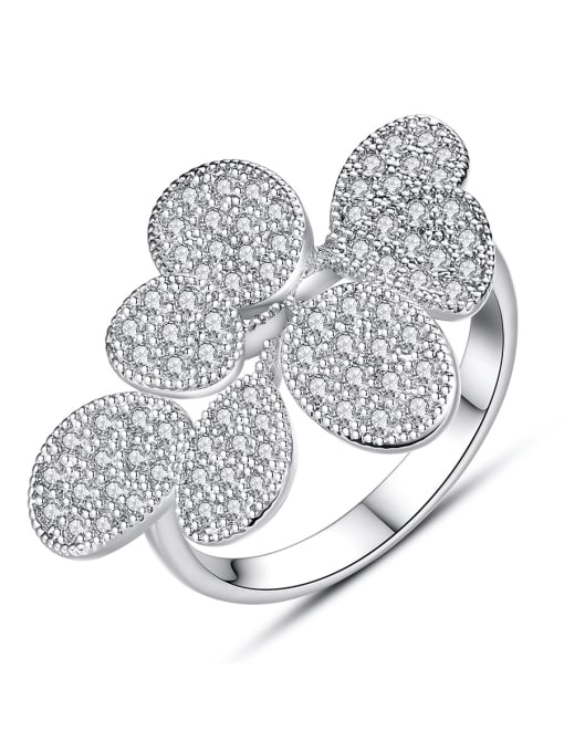 BLING SU Copper Cubic Zirconia Flower Luxury Band Ring