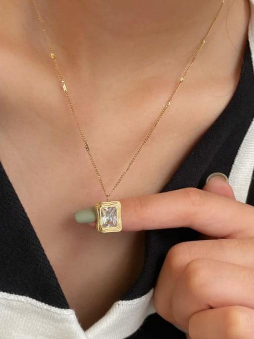 A TEEM Titanium Steel Square Vintage Pendant Necklace 1