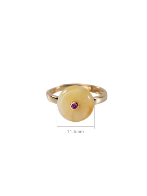 DEER 925 Sterling Silver Amber Round Ethnic Band Ring 2