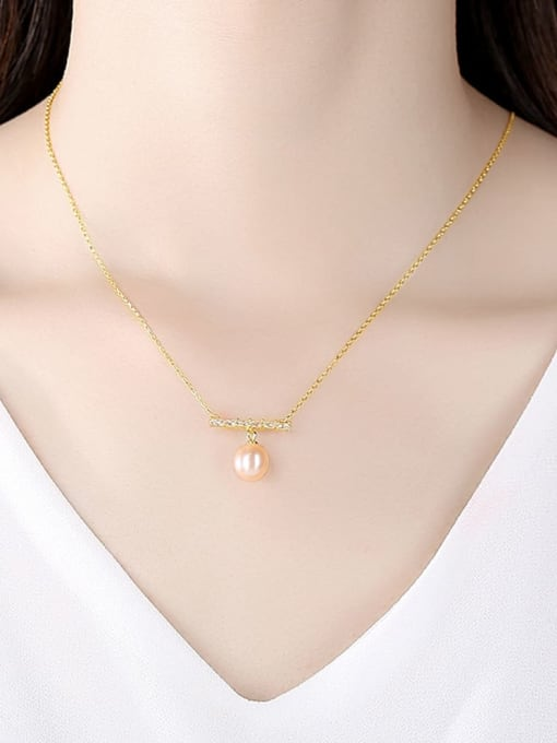 CCUI 925 Sterling Silver Freshwater Pearl Geometric Dainty Necklace 1