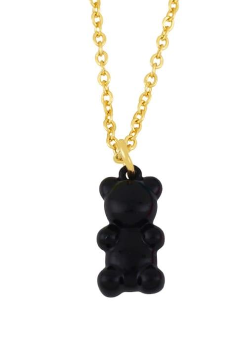 black Brass Enamel Cute Bear Pendant Necklace