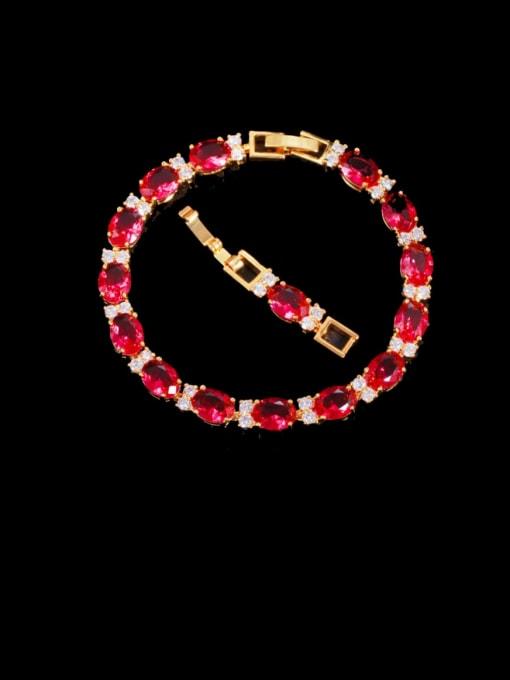 gules Brass Cubic Zirconia Geometric Classic Bracelet