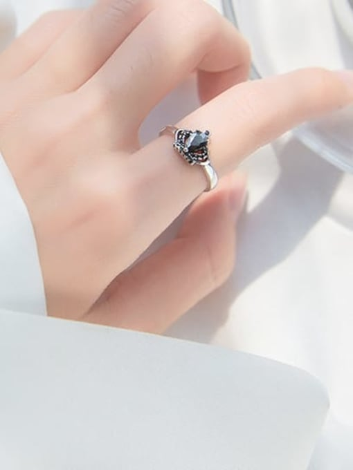 Rosh 925 Sterling Silver Cubic Zirconia Crown Vintage Band Ring 1
