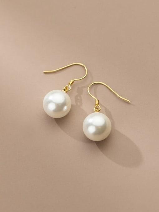 Rosh 925 Sterling Silver Imitation Pearl Ball Minimalist Hook Earring 2