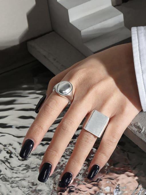 DAKA 925 Sterling Silver Smooth Geometric Minimalist Band Ring 2
