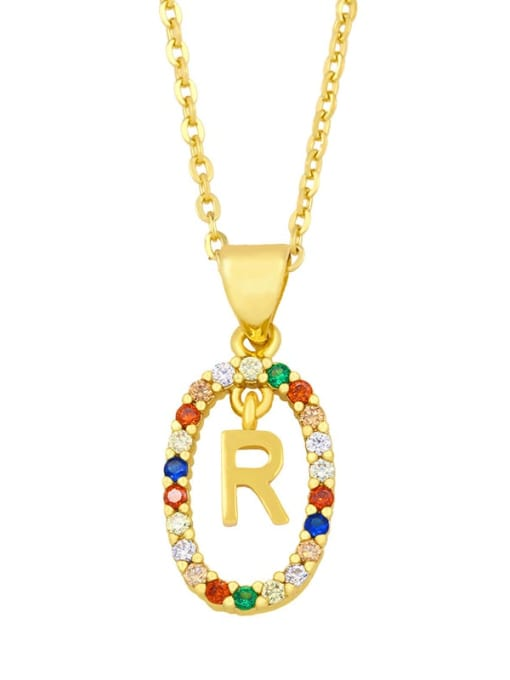 R Brass Cubic Zirconia Letter Vintage Oval Pendant Necklace