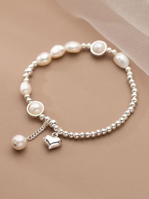 Rosh 925 Sterling Silver Freshwater Pearl Geometric Minimalist Stretch Bracelet