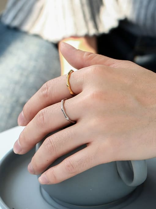 CHARME Brass Smooth Geometric Statement Band Ring 1