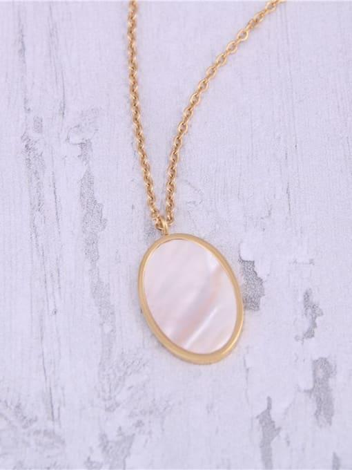 GROSE Titanium Steel Shell Oval Minimalist Necklace 3