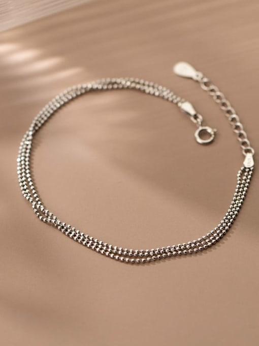 Rosh 925 Sterling Silver Bead Irregular Minimalist Strand Bracelet