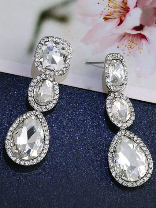 platinum Alloy Glass Stone Water Drop Bohemia Cluster Earring