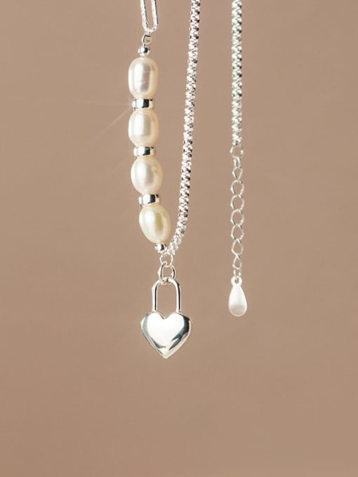 Rosh 925 Sterling Silver Freshwater Pearl Heart Minimalist Asymmetric chain Necklace 2