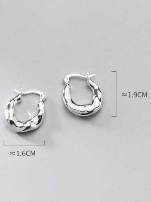 Rosh 925 Sterling Silver Irregular Minimalist Huggie Earring 4