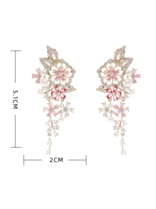 Luxu Brass Cubic Zirconia Flower Bohemia Drop Earring 4