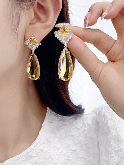 Luxu Brass Cubic Zirconia Water Drop Luxury Drop Earring 1