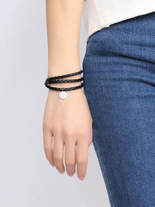CONG Stainless steel Leather Heart Vintage Strand Bracelet 1