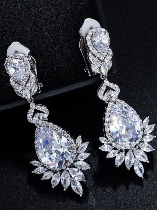 L.WIN Brass Cubic Zirconia Flower Luxury Drop Earring 3