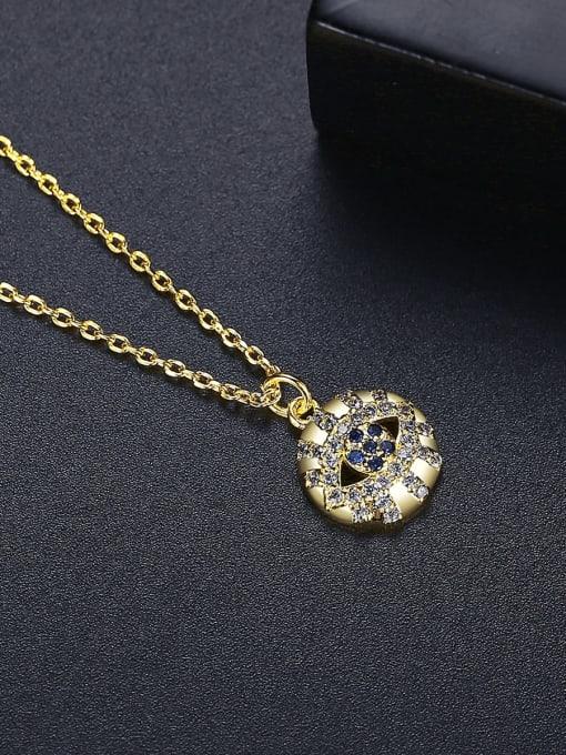 BLING SU Brass Cubic Zirconia Round Vintage Necklace 2