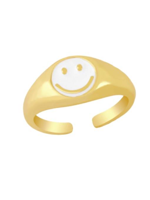 white Brass Enamel Smiley Hip Hop Band Ring