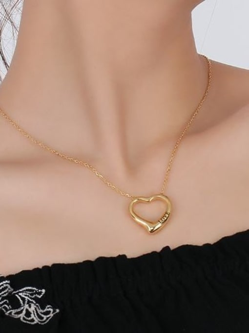 CONG Stainless steel Hollow Heart Minimalist Necklace 1