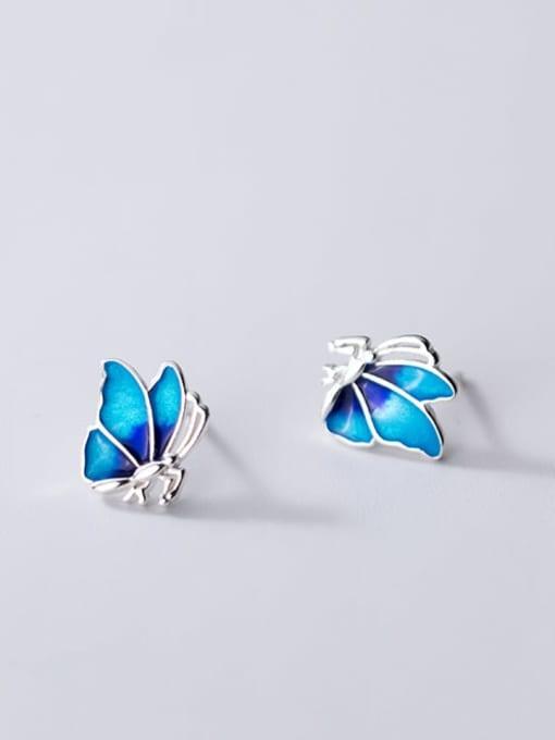 Rosh 925 Sterling Silver Enamel Butterfly Minimalist Stud Earring 0