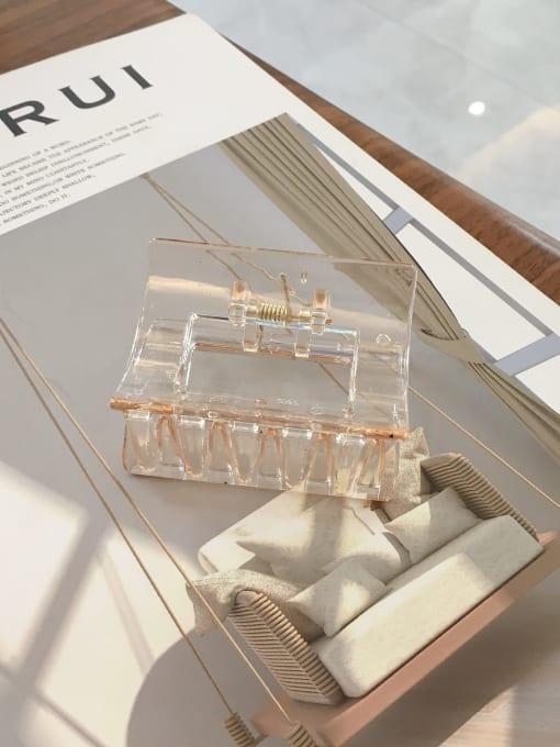 Transparent champagne Cellulose Acetate Minimalist Medium square  Geometric Jaw Hair Claw