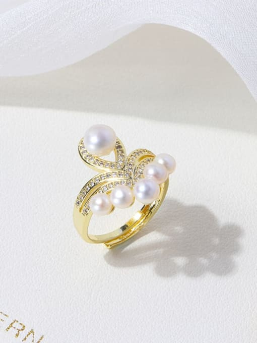 RAIN Brass Freshwater Pearl Flower Vintage Band Ring 2