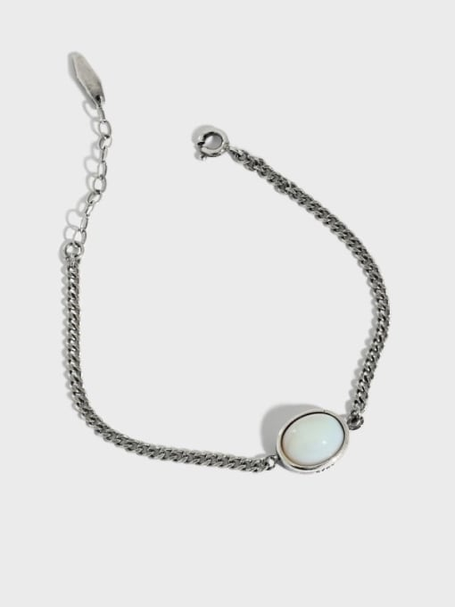 DAKA 925 Sterling Silver Cats Eye Geometric Vintage Link Bracelet 0