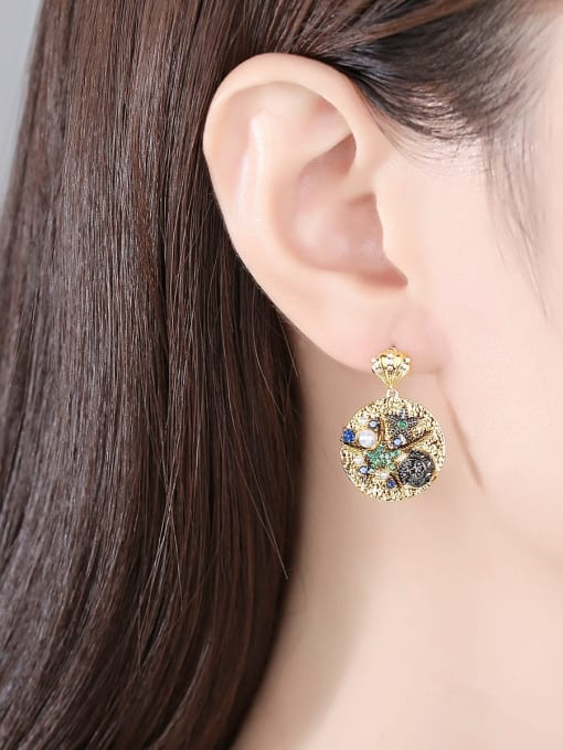 BLING SU Brass Cubic Zirconia Geometric Vintage Drop Earring 1