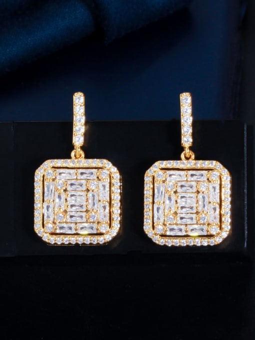 Gold Brass Cubic Zirconia Geometric Luxury Drop Earring