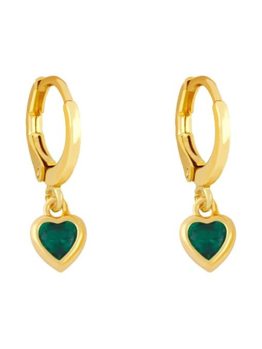 green Brass Cubic Zirconia Heart Minimalist Huggie Earring