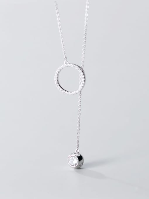 Rosh 925 Sterling Silver Rhinestone White Round Minimalist Lariat Necklace 4