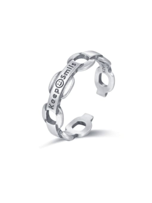 Boomer Cat 925 Sterling Silver Smiley Minimalist Band Ring