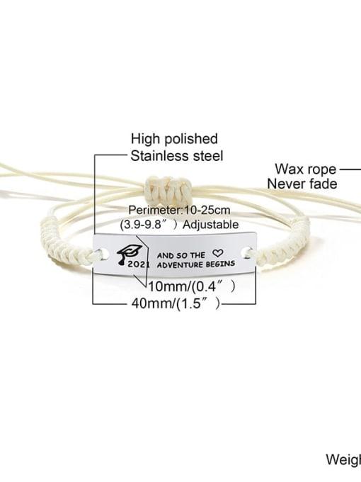 Rice white rope 12 Stainless steel Geometric Minimalist Woven Bracelet