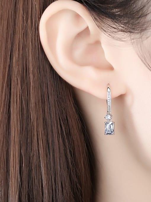 CCUI 925 Sterling Silver Cubic Zirconia Geometric Minimalist Hook Earring 1