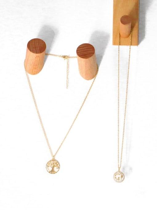 CC Brass Cubic Zirconia Tree Vintage Necklace 2