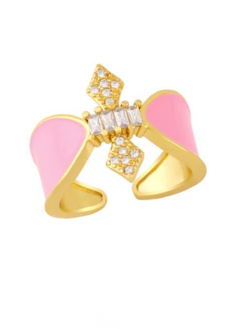 Pink Brass Enamel Rhinestone Geometric Vintage Band Ring