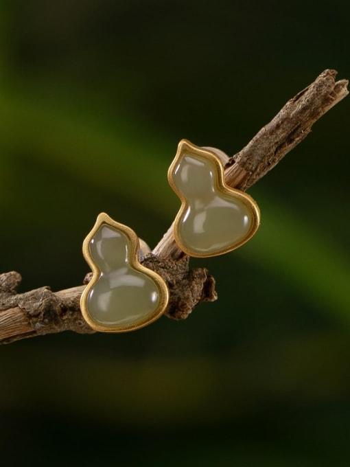 DEER 925 Sterling Silver Jade Irregular Vintage Stud Earring 0