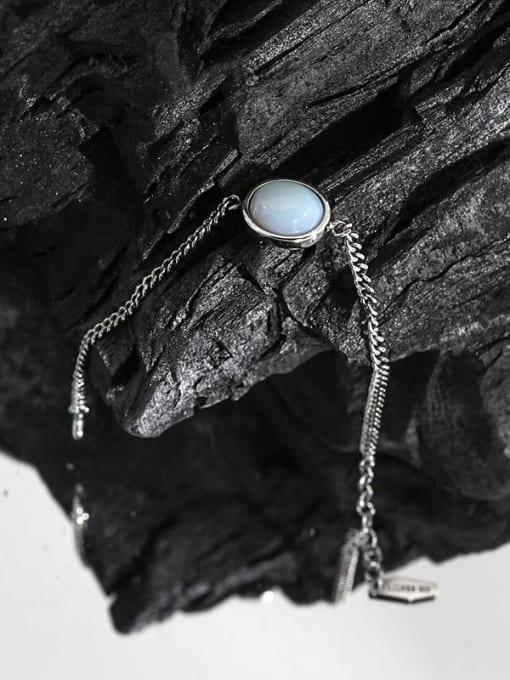 DAKA 925 Sterling Silver Cats Eye Geometric Vintage Link Bracelet 1