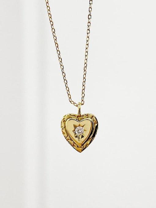 Boomer Cat 925 Sterling Silver Rhinestone Heart Minimalist Necklace 1